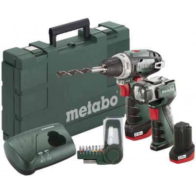 METABO PowerMaxx BS Basic aku šroubovák 10,8V 2x2Ah Li-Ion + svítilna ULA LED a sada bitů