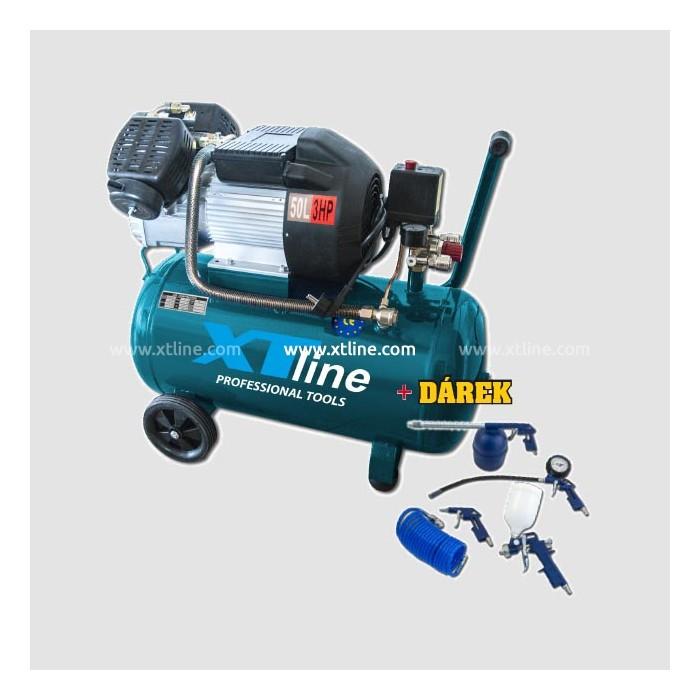Olejový kompresor XTline 3,0HP 2,2KW 8bar 50L 3050V, XT2004+ Dárek XT10065 5dílná sada