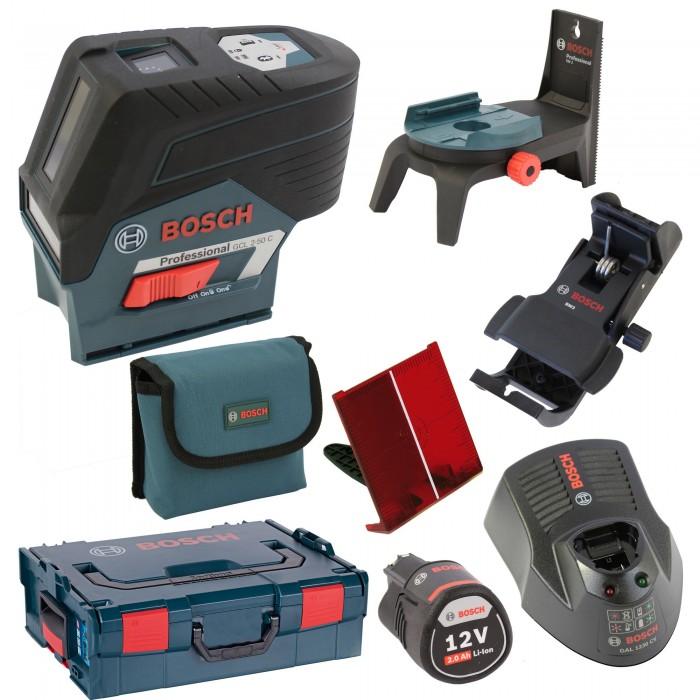 BOSCH GCL 2-50 C Professional + BM 3 + RM 2 + 1 x aku 2,0Ah + L-Boxx136 0601066G03